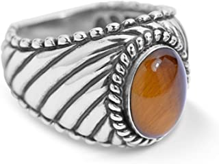 Bronze Anchor Ring Amber Ring Eagle Ring Silver Birthday Rings Jewelry Gemstone 925 Sterling Tiger Eye Agate Ring Animal Ring