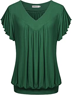 Helloacc Womens V Neck Short Ruffled Sleeves Banded Bottom T Shirts Loose Tops