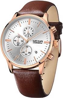 MEGIR Brown Leather Strap with Calendar Chronograph Rose Gold Case Waterproof Silver Quartz Watch