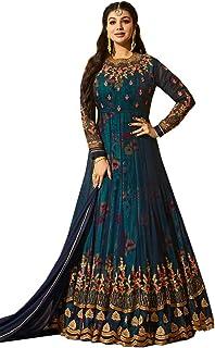 ece50e55c1 MR CROZY Women's Faux Georgette Long Anarkali Suit (Blue, Free Size)