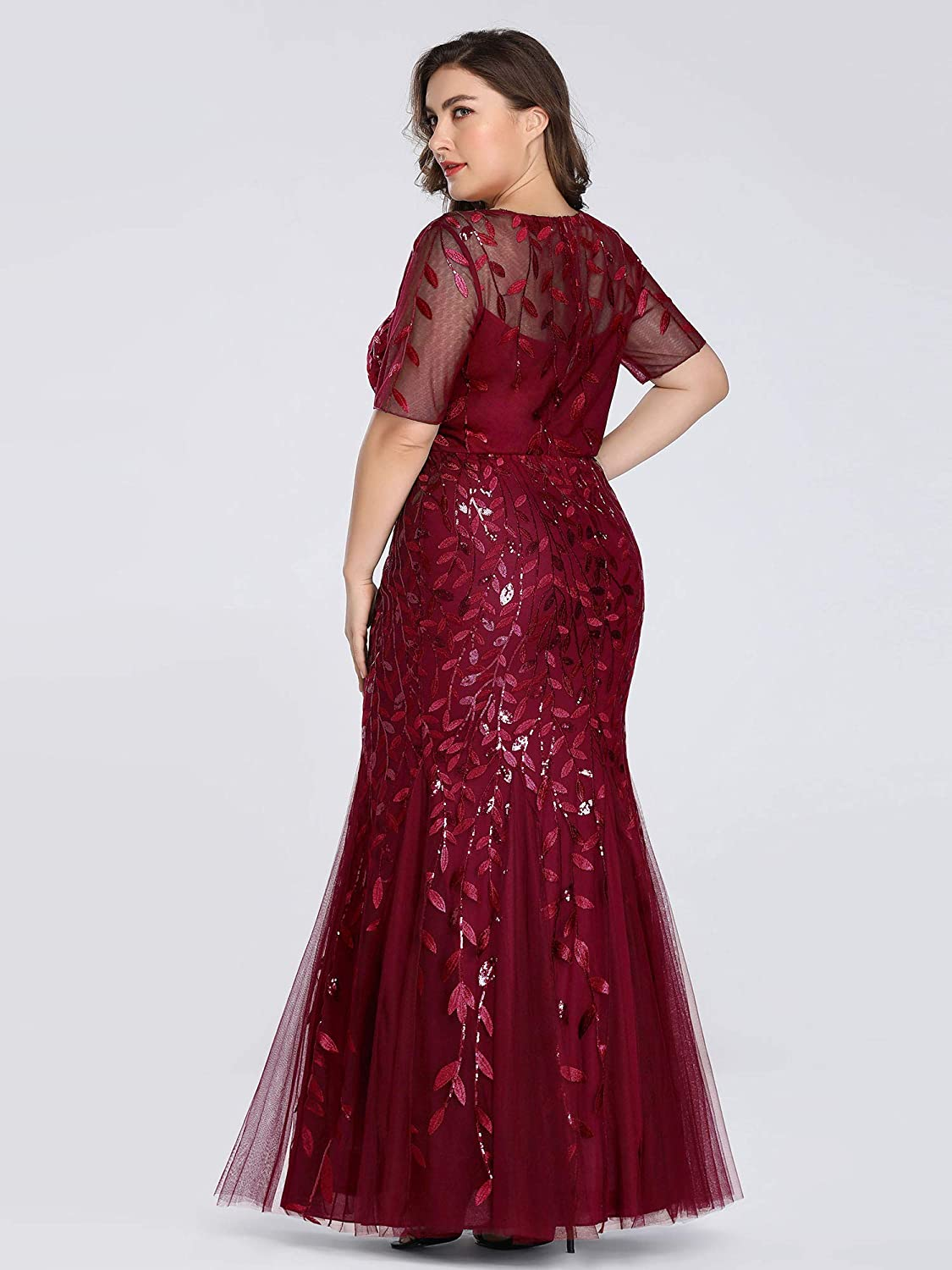 Ever-Pretty Women's Plus Size Embroidery Mermaid Evening Party Maxi Dress 7707PZ
