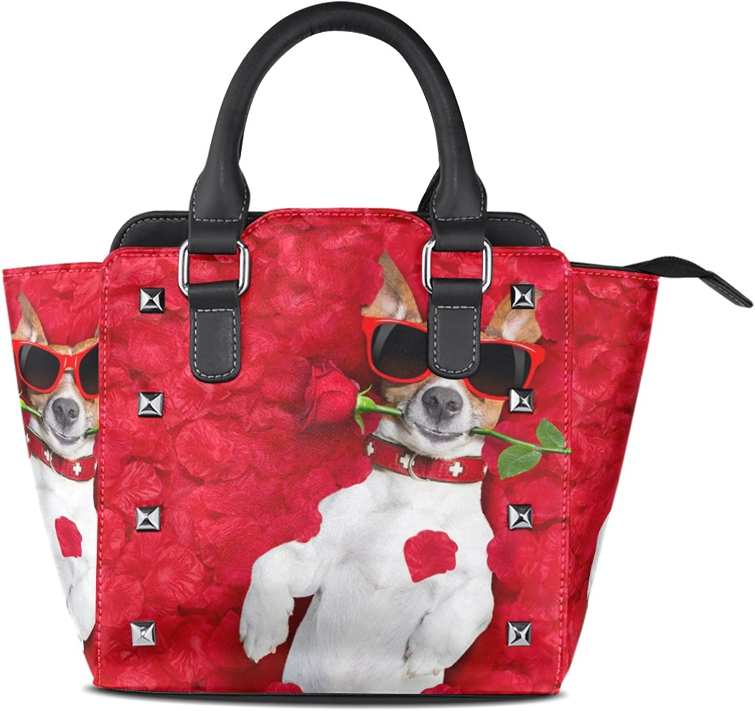 My Little Nest Women's Top Handle Satchel Handbag Jack Russell Dog with pink in Mouth Ladies PU Leather Shoulder Bag Crossbody Bag