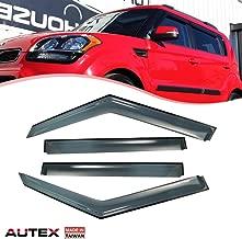 AUTEX Tape-on Window Deflector Visor Compatible with Kia Soul 2010 2011 2012 2013 Rain Guard Sun Shade, Made in Taiwan