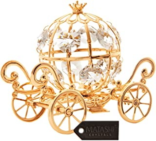 24K Gold Plated Crystal Studded Small Cinderella Pumpkin Coach Ornament by Matashi