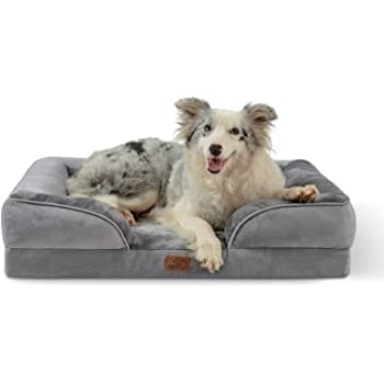 Bedsure Orthopedic Dog Bed, Foam Sofa with Removable Washable Cover - Bolster Medium,Large Dog Beds, Waterproof Lining and Nonskid Bottom Couch