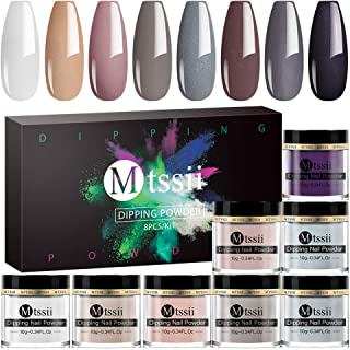 MTSSII Dip Powder Colors Set -8 Nude Gray Series Dipping Powder for French Nail Manicure Nail Art No Nail Lamp Needed