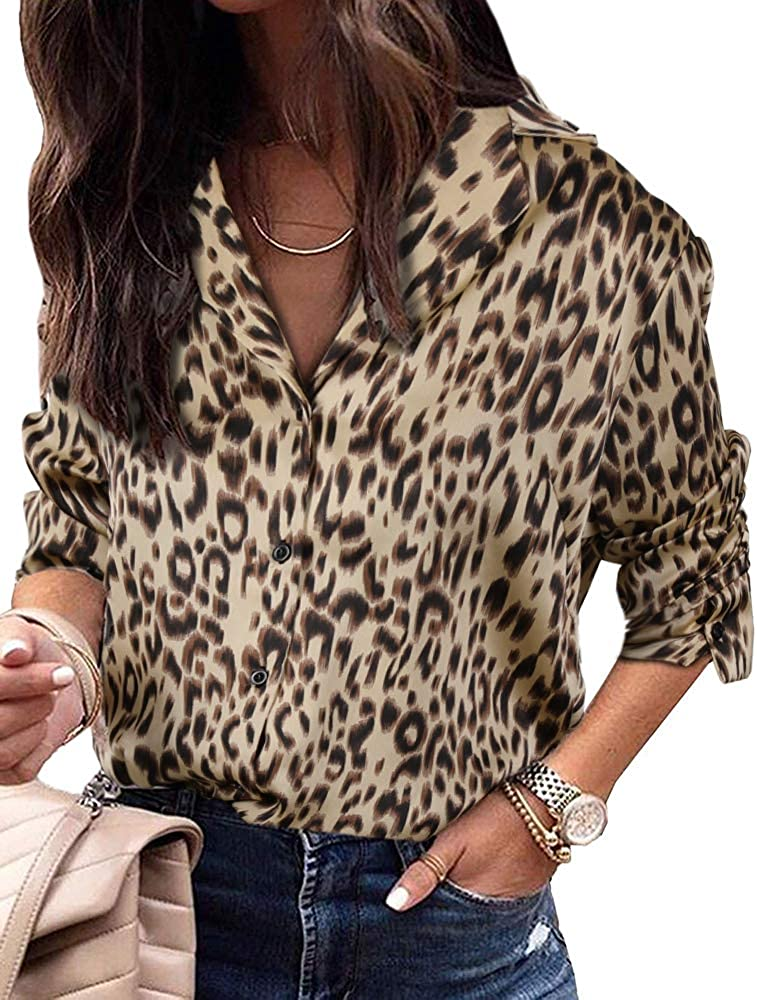 UMEKO Womens Long Sleeve Blouse Leopard Print Sexy V Neck Shirts Button Down Tunic Tops