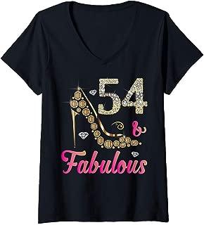 Womens 54 and Fabulous Funny 54th Birthday Cute Gift Beautiful Fun V-Neck T-Shirt