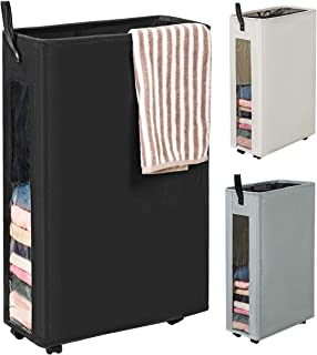 WOWLIVE 27 inches Slim Rolling Laundry Hamper with Wheels Tall Thin Laundry Basket with Clear Window Handy Collapsible Clothes Hamper Mesh Cover Rectangular StorageCorner Bin(Black)