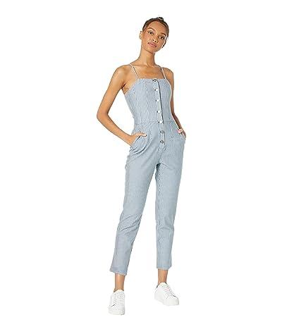 1.STATE Button Front Railroad Stripe Jumpsuit (Hickory Stripe) Women