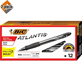 BIC Velocity Bold Retractable Ball Pen, Bold Point (1.6mm), Black, 12-Count - 2 Pack