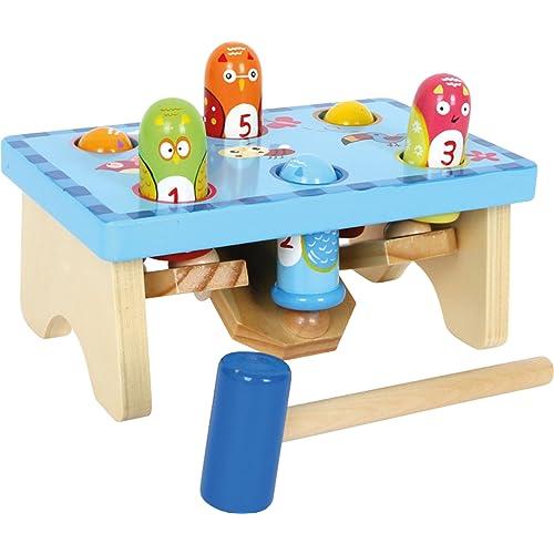 """Small Foot 5807 """"Tape sur l'oiseau""""  en bois, design coloré avec jeu de chiffres, marteau en bois inclus, à partir de 18 mois"""