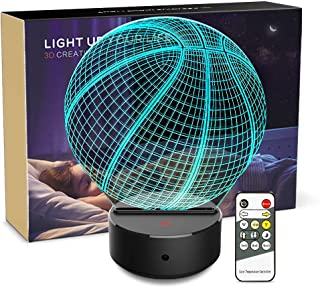 Night Light 3D Basketball 3D Lamp Optical Illusion Nightlight Bedside Lamp 7 Colors Changing LED Lamps with Remote Birthday Gifts for Girls Kids Baby Boys and Room Decor (Basketball)