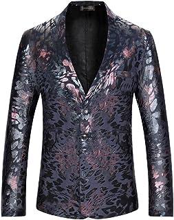 Sportides Men's Casual Slim Fit Velvet Flower Printed Two Button Blazer Jacket Suits JZA132 Black L