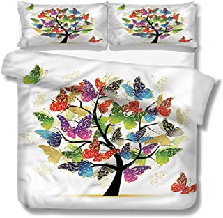 Mademai Queen Size Duvet Cover Set Tree of Life,Colorful Butterflies Decorative 3 Piece Bedding Set with 2 Pillow Covers