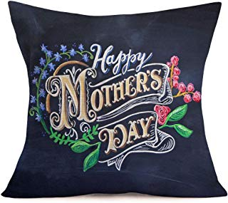 Smilyard Happy Mother's Day Quote Pillow Covers Flower PrintCotton Linen Decorative Pillow Covers Black Cushion Cover for Mother' Day Party Home Decor Pillowcase 18x18 Inch (QA 05)