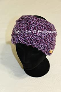 Crochet Messy-Bun Beanie or Extra Wide Headband