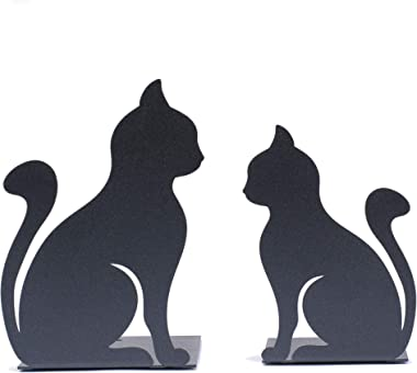 Siideess Handmade Crafts - Cat Decorative Bookends - Great Decor for Your Shelves, Desk or Credenza - Great Gifts for Cat Lov