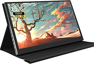 15.6 Inch USB-C Portable Monitor Ultra HD 1920X1080 IPS LED Screen Type-C External Portable Monitor with Leather Case for ...