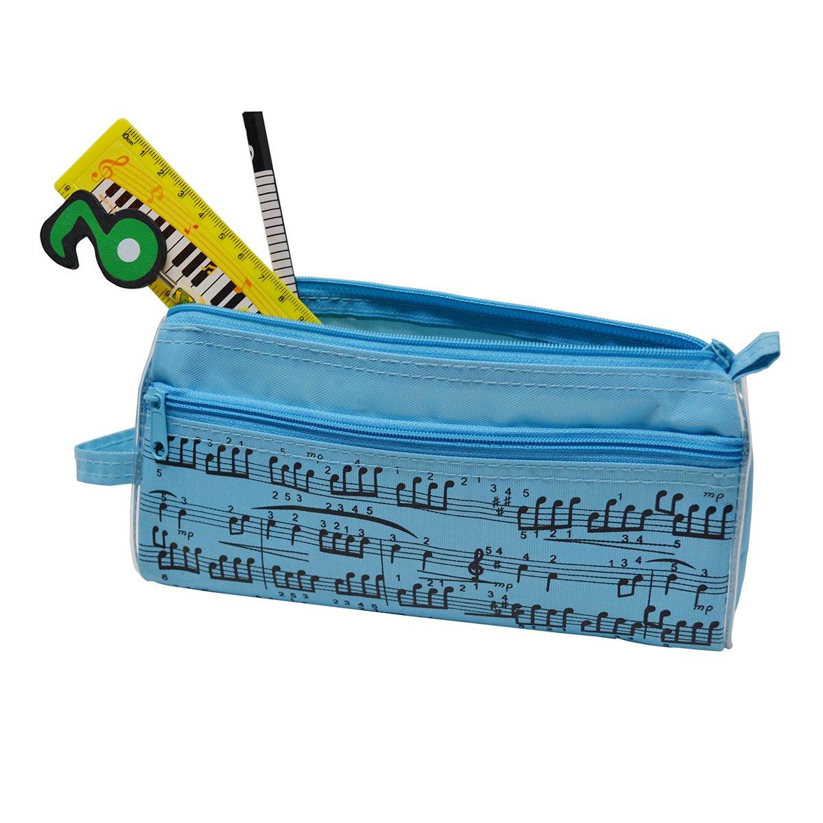 Estuche para lápices de notas musicales, impermeable, tela Oxford, portátil, bolsa de papelería con cristal capacitivo, color azul: Amazon.es: Oficina y papelería