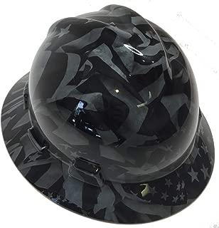 Hard Hat MSA V-Gard Full Brim Custom Navy Gray Midnight Flags