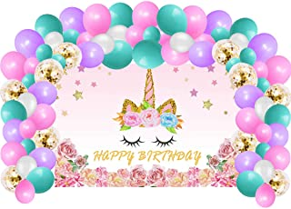Unicorn Birthday Party Supplies Decorations For Girls, Rainbow Unicorn Party Backdrop And Balloons Kit For Photo Background, Photo Backdrop (No Banner Cake Topper, Favors And Flatware)