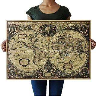 PiniceCore Vintage Paper Navigation Mappa del Mondo Vecchio Muro Grafici Retro Carta Lavorata a Mano Pittura Poster Mappa ...