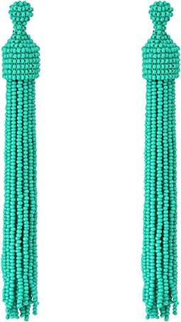 Kenneth Jay Lane - Turquoise Seed Bead Tassel Post Ear Earrings