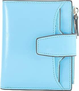 AINIMOER Women's RFID Blocking Leather Small Compact Bi-fold Zipper Pocket Wallet Card Case Purse (Waxed Light Blue)