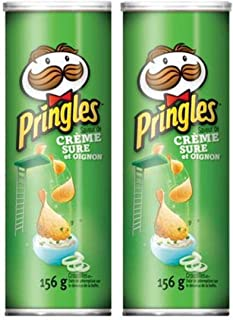 Pringles Sour Cream & Onion Potato Chips 156g/5.50oz, 2 Pack (Imported from Canada)