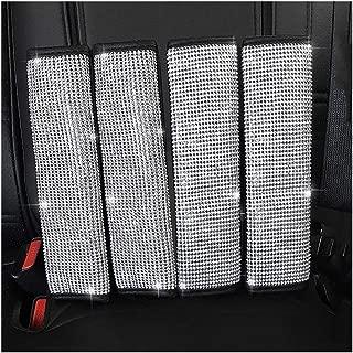U&M 4 Packs Bling Bling Seat Belt Shoulder Pads, Luster Crystal Car Seatbelt Covers Diamond Car Decor Accessories for Women