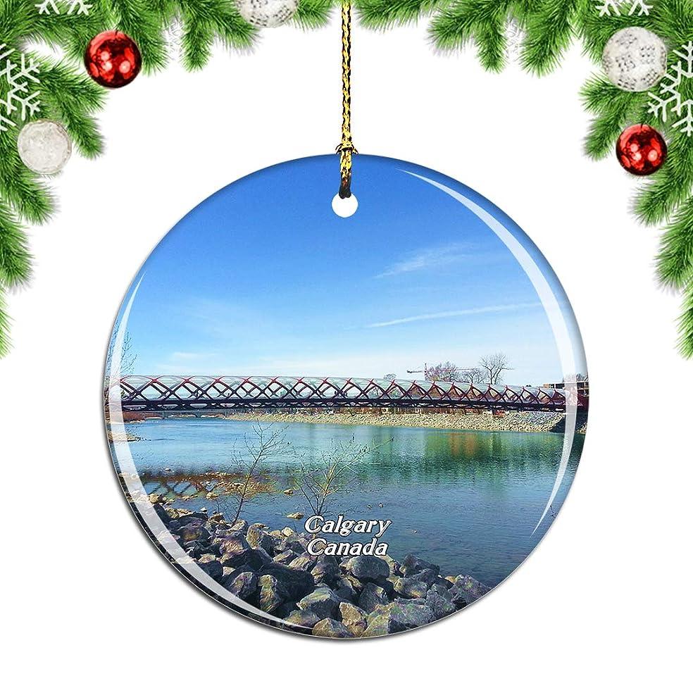本部映画パラナ川Weekinoカナダカナダボウリバーカルガリークリスマスデコレーションオーナメントクリスマスツリーペンダントデコレーションシティトラベルお土産コレクション磁器2.85インチ