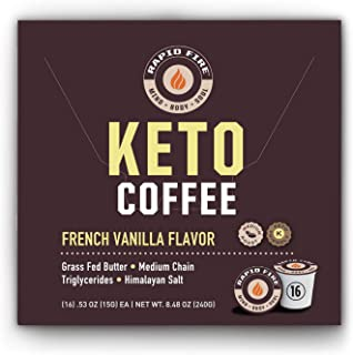 Rapid Fire French Vanilla Ketogenic High Performance Keto Coffee Pods, Supports Energy & Metabolism, Weight Loss, Ketogeni...