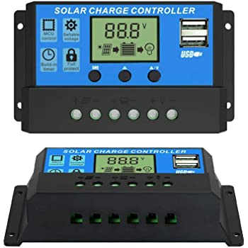ELEPHANTBOAT® 10A 12V 24V ABS Solar Panel Charger Controller Battery Regulator Dual USB LCD Display (Blue)