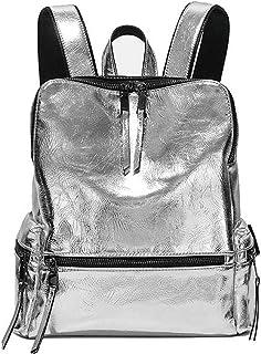 Hopereo más grande capacidad escuela hombro bolso casual pu mujeres antirrobo mochila plata reflexiva mochilas saco a dos