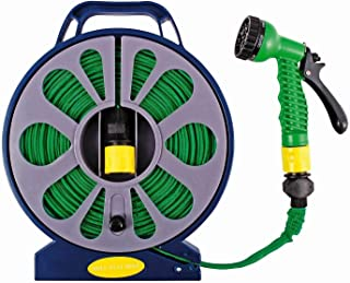 15M Flat Hose on Reel with 7 Function Spray Nozzle Garden Hose Reel Cart Portable Garden Webbed Water Pipe Hose Reel Cart ...