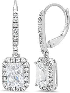 3.47CT Emerald Brilliant Round Cut Halo Solitaire Highest Quality White Created Sapphire & Simulated Diamond Unisex Anniversary Gift Leverback Drop Dangle Earrings Real Solid 14kWhite Gold