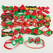 Hixixi 15pcs/Pack Dog Cat Puppy Bow Ties Bowties Collar for Christmas Festival Pet Xmas Ties Dog Grooming Accessories