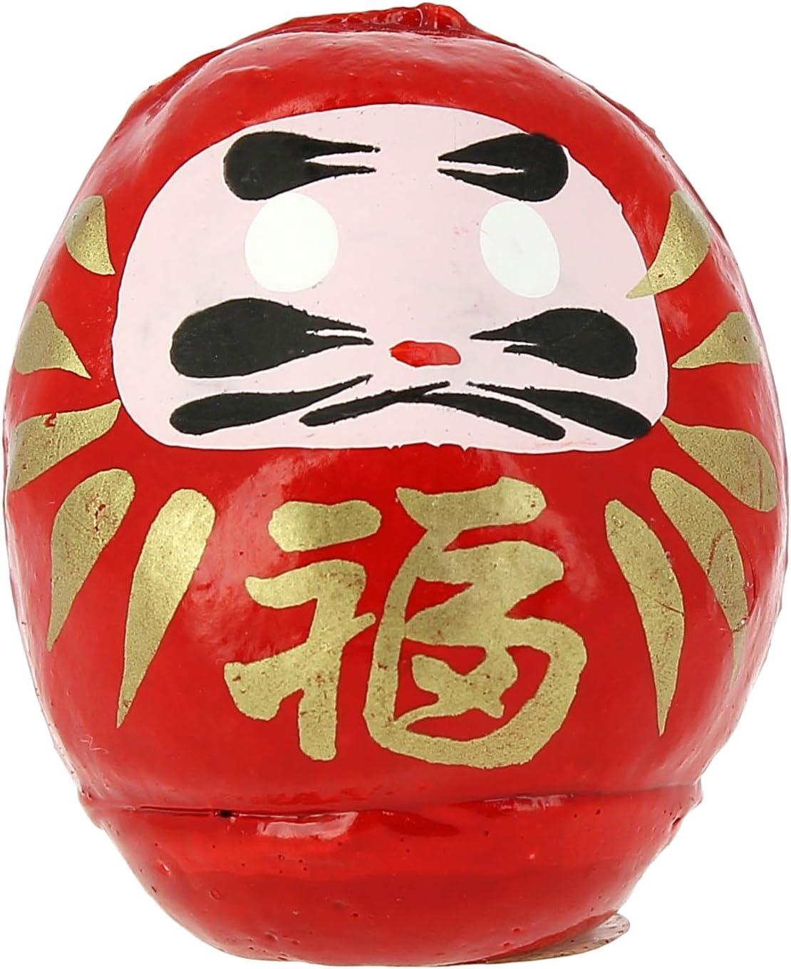 Tierra Zen Daruma Mediano, Papel maché Pintado, Rojo, 6,5 cm