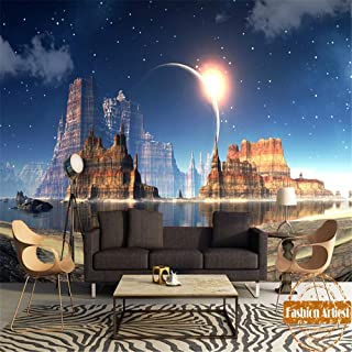 Mural Custom Rock Mountain Moon Night Wallpaper Mural Fantasy Dream Castle En Agua Tv Sofá Dormitorio Café Bar Restaurante Lounge, 550X250 Cm