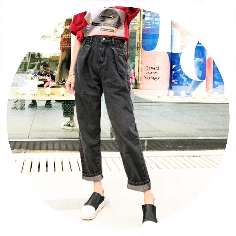 AllAboutUs Boyfriend Jeans Woman Wide Leg Denim Pants high Waist Jeans Femme Loose bluee Trousers for Women