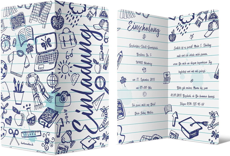 40 x Einschulung Einladungskarten Einschulungskarten Schulanfang Set - Kugelschreiber Gekritzel B07C3YFXV3  | Up-to-date Styling