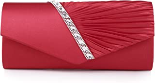 Damara Womens Pleated Crystal-Studded Satin Handbag Evening Clutch