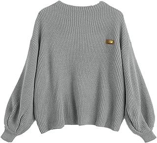 ZAFUL Women's Lantern Sleeve Chevron Patches Oversized Pullover Knit Sweater