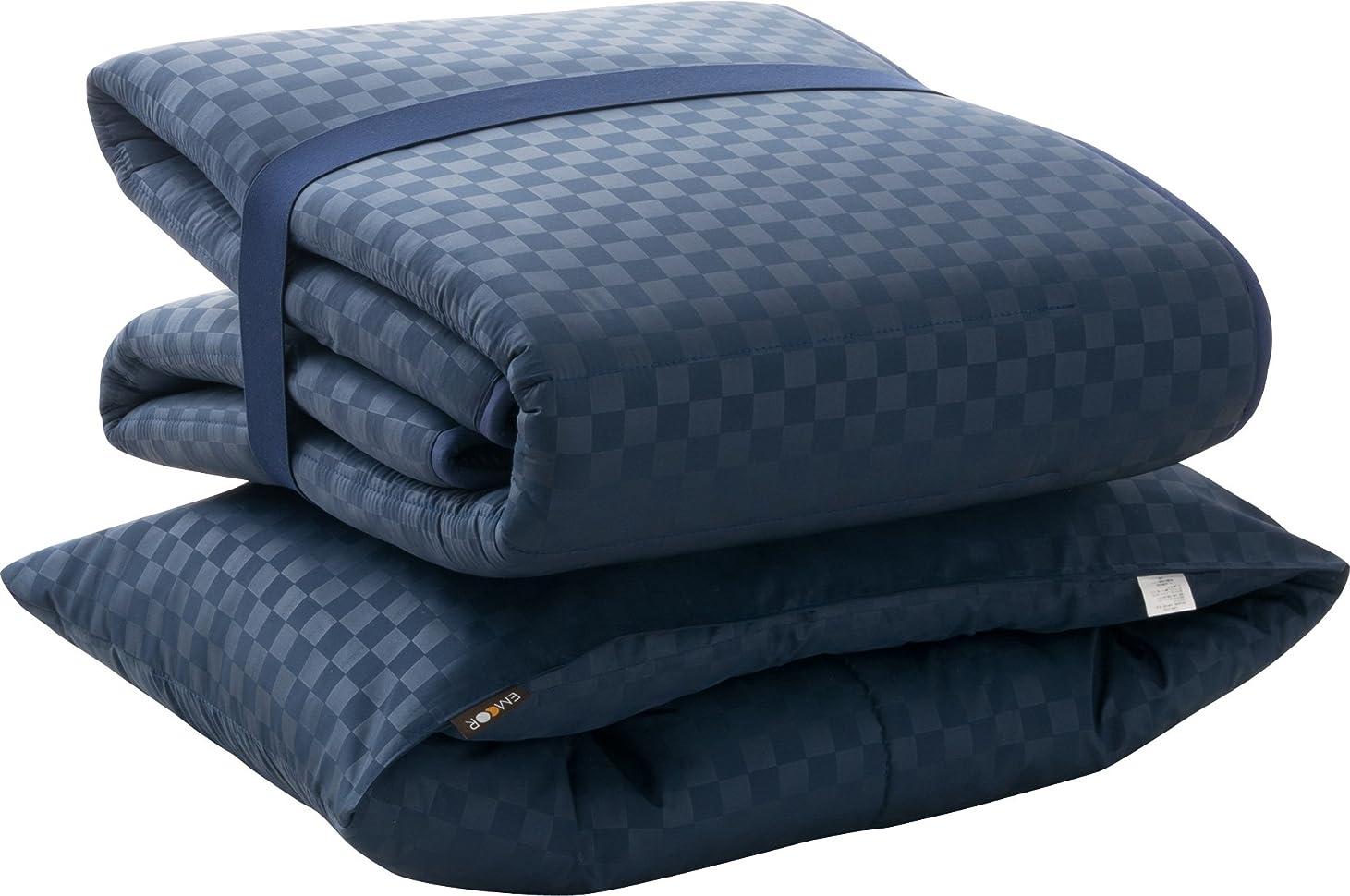 ストレッチベンチャー縁石エムール 日本製 ウルトラコンパクト2 布団4点セット シングル 従来品の約1/3の大きさになる布団セット 格子柄ネイビー