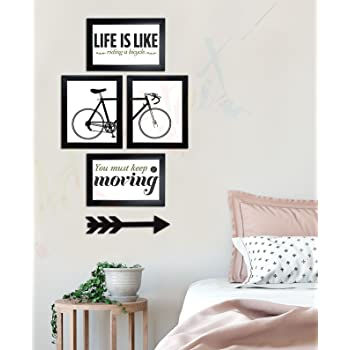 Painting Mantra Art Street You Must Keep Moving Wall Photo Frame with MDF Arrow - Set of 4