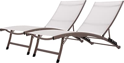 Vivere CWTL2-PE CWTL2 Clearwater 6 Position Aluminum Lounger with Wheel 2pc Set, Pearl