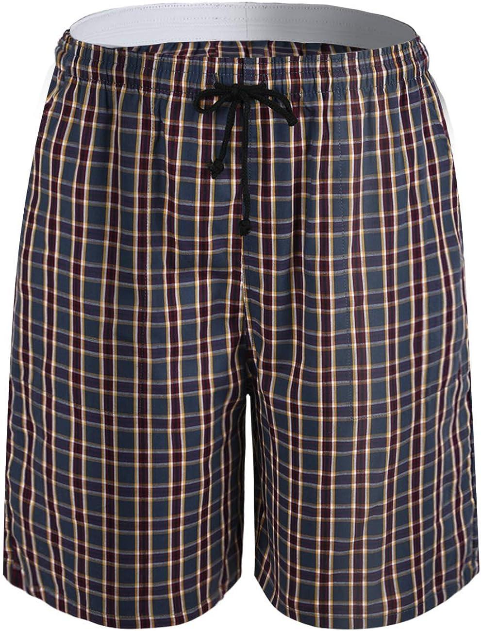 ninovino Men's Soft Woven Pajama Short 100% Cotton Plaid with Elastic Waistband Sleep Shorts