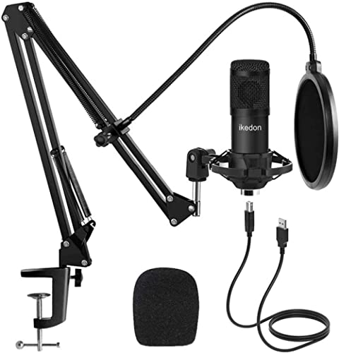 Studio USB Condenser Microphone, ikedon Professional 192kHz/24bit Cardioid Recording Microphone, Plug&Play Computer M...