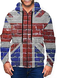 Ralapmill Felpa con Cappuccio Bandiera Inglese Regno Unito Felpa da Uomo in Pile con Cappuccio Full Zip Felpa con Cappucci...